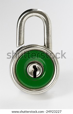 Close-up of green opened padlock