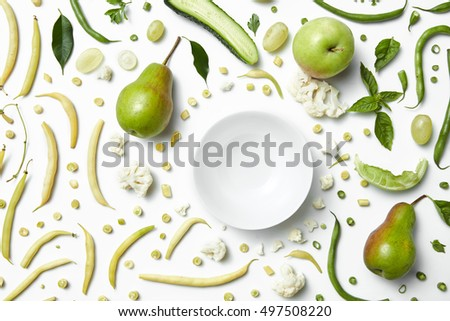 Close up of green vegetables and fruits for background.