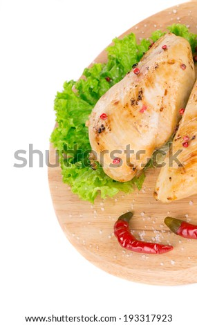 Close up of grilled chicken fillet. Whole background.