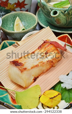 Close up of grilled fish  - stock photo