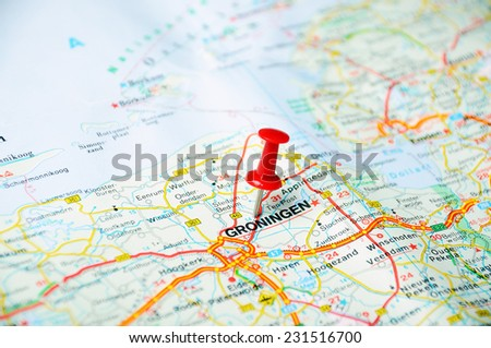 Close up of Groningen , Netherlands  map with red pin  - Travel concept - stock photo