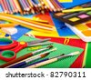 Close up  of group art school supplies. - stock photo
