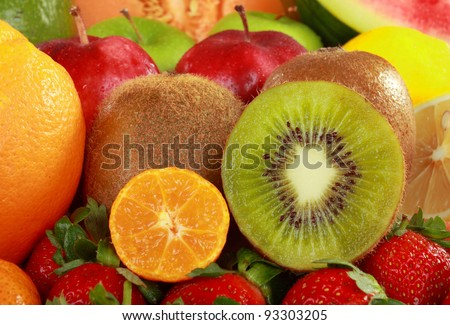 close up of group of Colorful fresh Fruits
