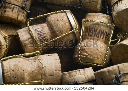 Close-up of group of high-quality Champagne corks - stock photo