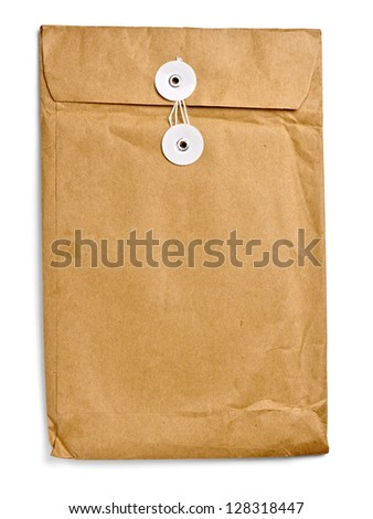 close up of   grunge paper envelope on white background with clipping path