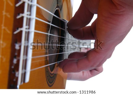 Close up of guitar being played