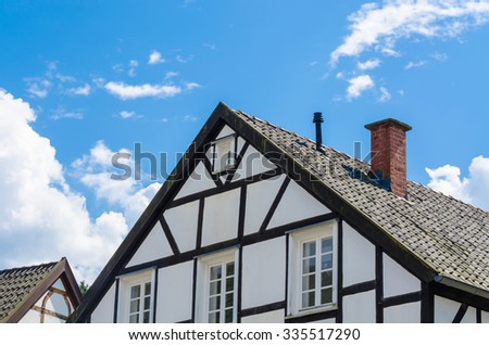 Close-up of half-timbered house gable - stock photo