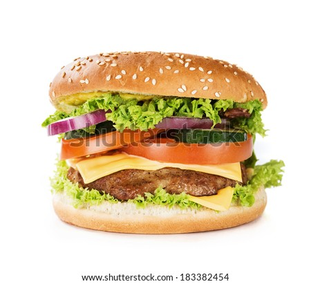 Close up of hamburger, cheeseburger isolated on white background