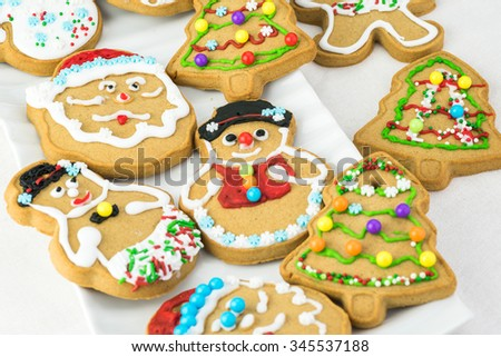 Close up of hand decorated gingerbread cookies.