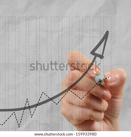 close up of hand draws business success chart concept on virtual screen as concept - stock photo