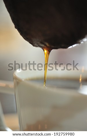 close-up of hand drip coffee - stock photo