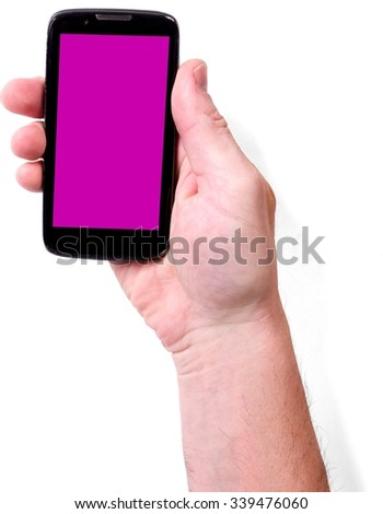 Close Up of Hand Holding a Smartphone with a Pink Screen Surface - Isolated