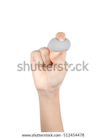 Close up of hand holding cosmetic make up sponges isolated on a white background