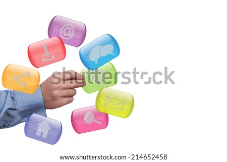 Close up of hand holding internet buttons - stock photo