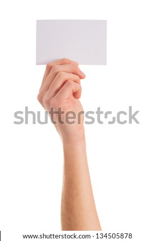 Close-up Of Hand Holding Placard On White Background - stock photo