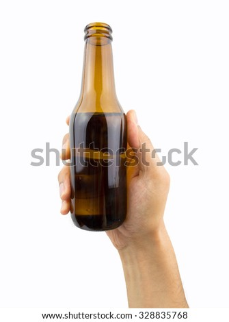 close up of hand holding the beer bottle on white background - stock photo