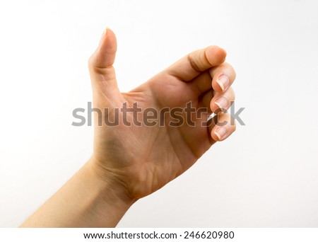 close up of hand holding with white background - stock photo