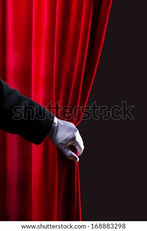 Close up of hand in white glove open the curtain. Place for text - stock photo