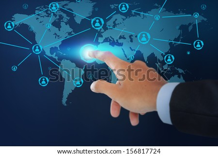 Close up of hand male pointing social network structure on virtual background