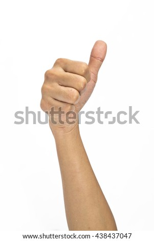 Close up of hand showing thumbs up sign
