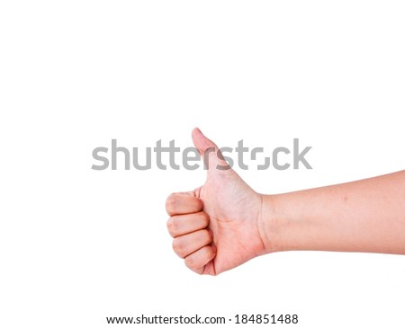 Close up of hand showing thumbs up sign isolated.