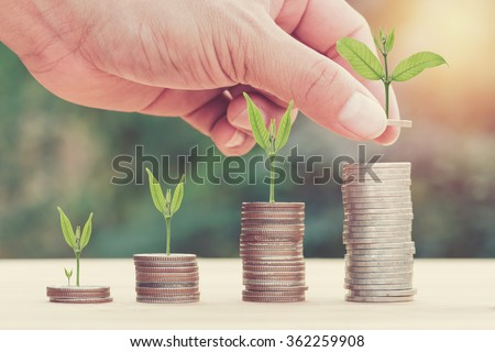 Close up of hand stacking gold coins with green bokeh background ,Business Finance and Money concept,Save money for prepare in the future.Trees growing on coin.vintage process style - stock photo