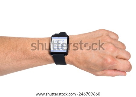 Close-up Of Hand Wearing Smartwatch With New Message Icon On Screen Over White Background - stock photo