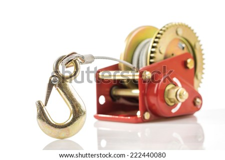 Close up of hand winch hook isolated - stock photo