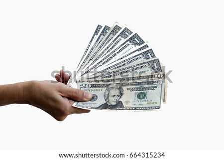 close up of hands holding dollar note on white background