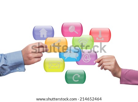 Close up of hands holding  internet buttons - stock photo