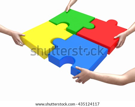 Close Up of Hands Holding Puzzle Pieces 3D Concept