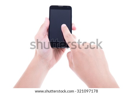 close up of hands using mobile smart phone with blank screen isolated on white background