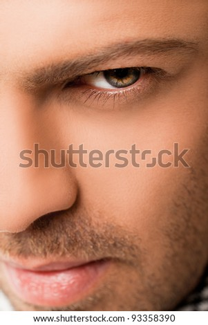 Close-up of handsome man face, eye