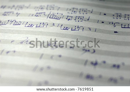 close-up of handwritten sheet music of a jazz composition - stock photo