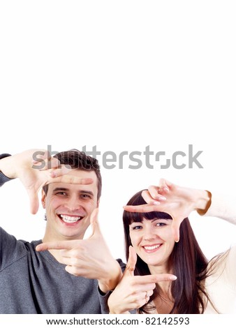 Close-up of happy couple isolated on the white - stock photo