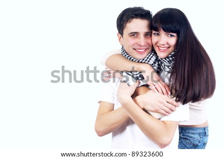 Close-up of happy couple isolated on the white