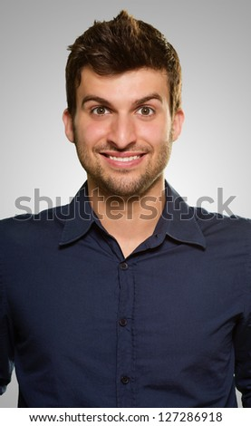Close-up Of Happy Man On Grey Background