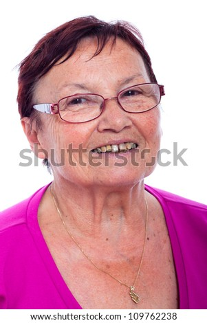 Close up of happy smiling senior woman, isolated on white background.