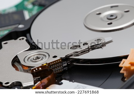 close up of hard arm disk. - stock photo
