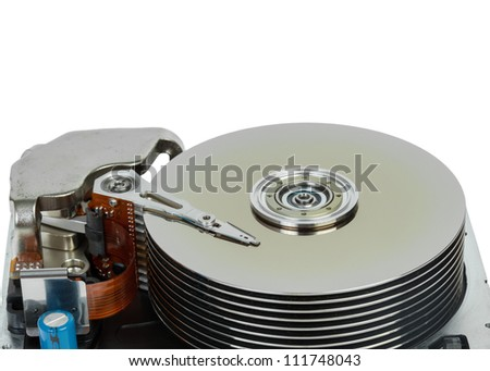 close up of hard disk