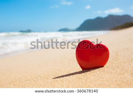 Close up of heart on the beach in beautiful Hawaii. - stock photo