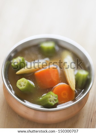 close up of hearty vegetable soup