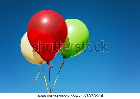Close up of helium multicolored balloons