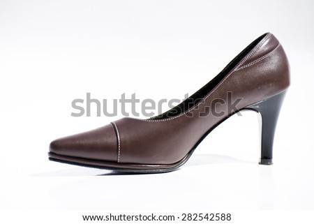 close up of high heels on white background