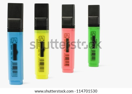 Close-up of highlighter pens - stock photo