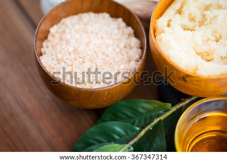 close up of himalayan pink salt and body scrub - stock photo