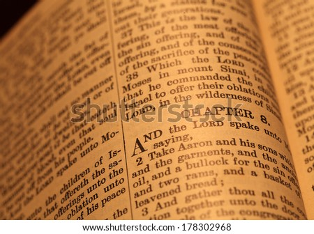 Close up  of Holy Bible - stock photo
