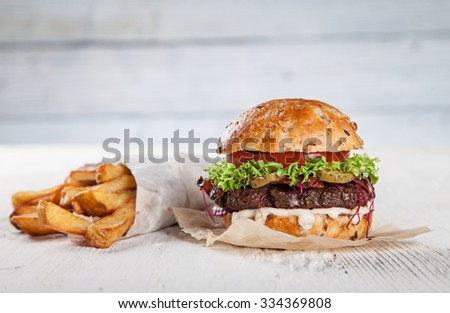 Close-up of home made burger - stock photo