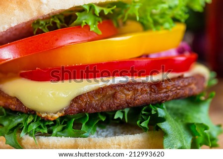 close up of  homemade hamburger on white plate