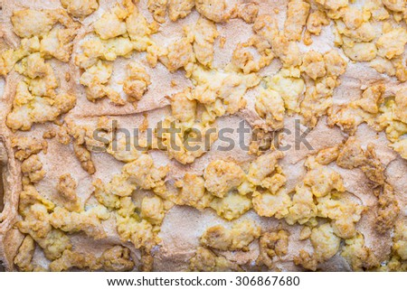 Close up of homemade pie with crumble - stock photo